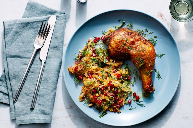 Persian-Spiced Chicken with Spaghetti Squash, Pomegranate and Pistachios