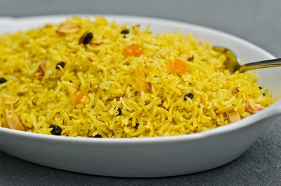 Basmati Pilaf Rice with Dried Fruits and Almonds